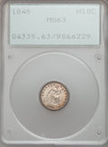 Seated Half Dimes: , 1845 H10C MS63 PCGS. PCGS Population (30/81). NGC Census: (38/78).Mintage: 1,564,000. Numismedia Wsl. Price for problem fr...