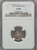 Seated Dimes: , 1837 10C No Stars, Large Date XF40 NGC. NGC Census: (18/342). PCGSPopulation (36/299). Mintage: 682,500. Numismedia Wsl. P...