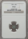 Proof Three Cent Silver: , 1871 3CS PR63 NGC. NGC Census: (41/117). PCGS Population (81/160).Mintage: 960. Numismedia Wsl. Price for problem free NGC...