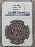 Seated Dollars: , 1845 $1 -- Repaired -- NGC Details. AU. NGC Census: (8/94). PCGSPopulation (39/67). Mintage: 24,500. Numismedia Wsl. Price...