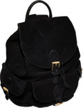 Luxury Accessories:Bags, Bottega Veneta Special Large Black Suede Backpack with GuillocheGold Hardware. ...
