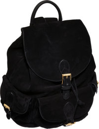 Bottega Veneta Special Large Black Suede Backpack with Guilloche Gold Hardware