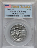 Modern Bullion Coins, 2006-W $50 Platinum Eagle First Strike MS70 PCGS. PCGS Population(339). NGC Census: (0). Numismedia Wsl. Price for proble...