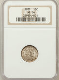 Barber Dimes: , 1911 10C MS64 NGC. NGC Census: (233/189). PCGS Population(271/215). Mintage: 18,870,544. Numismedia Wsl. Price forproblem...