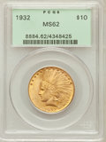 Indian Eagles: , 1932 $10 MS62 PCGS. PCGS Population (12987/27700). NGC Census:(14698/33901). Mintage: 4,463,000. Numismedia Wsl. Price for...