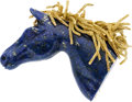 Estate Jewelry:Brooches - Pins, Lapis Lazuli, Gold Brooch, Wander, France. ...