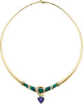 Estate Jewelry:Necklaces, Tanzanite, Opal, Diamond, Gold Necklace. ...