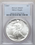 Modern Bullion Coins, 1987 $1 One-Ounce Silver Eagle MS69 PCGS. PCGS Population(5910/10). NGC Census: (82927/235). Mintage: 11,442,335.Numismed...