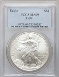 Modern Bullion Coins, 1998 $1 One-Ounce Silver Eagle MS69 PCGS. PCGS Population(3155/17). NGC Census: (83277/252). Numismedia Wsl. Price for pr...