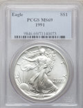 Modern Bullion Coins: , 1991 $1 Silver Eagle MS69 PCGS. PCGS Population (5422/0). NGCCensus: (75564/130). Mintage: 7,191,066. Numismedia Wsl. Pric...