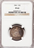 Proof Seated Quarters, 1862 25C PR63 NGC....