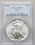 Modern Bullion Coins, 1991 $1 One-Ounce Silver Eagle MS69 PCGS. PCGS Population (5422/0).NGC Census: (75564/130). Mintage: 7,191,066. Numismedia...