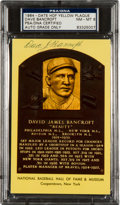 Autographs:Post Cards, Circa 1972 Dave Bancroft Signed Gold Hall of Fame Plaque, PSA/DNANM-MT 8....