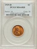 Lincoln Cents: , 1929-D 1C MS64 Red PCGS. PCGS Population (276/215). NGC Census:(174/86). Mintage: 41,730,000. Numismedia Wsl. Price for pr...