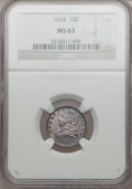 Bust Dimes, 1834 10C Large 4 MS63 NGC. JR-2, R.3....