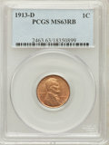 Lincoln Cents: , 1913-D 1C MS63 Red and Brown PCGS. PCGS Population (58/151). NGCCensus: (80/216). Mintage: 15,804,000. Numismedia Wsl. Pri...