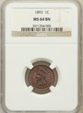 Indian Cents: , 1893 1C MS64 Brown NGC. NGC Census: (182/80). PCGS Population(53/6). Mintage: 46,642,196. Numismedia Wsl. Price for proble...