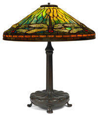 TIFFANY STUDIOS RED-EYE DRAGONFLY TABLE LAMP Bronze lamp base with green, yellow