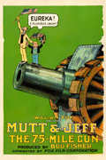 "Movie Posters:Animation, Mutt and Jeff in The 75 Mile Gun (Fox, 1918). One Sheet (27"" X41"").. ..."