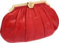 Luxury Accessories:Bags, Judith Leiber Red Lizard Clutch with Gold Frame. ...
