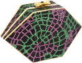 Luxury Accessories:Bags, Judith Leiber Full Bead Purple, Green & Black Crystal WebMinaudiere Evening Bag. ...