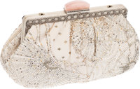 Judith Leiber White and Cream Satin and Crystal Clutch