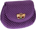 Luxury Accessories:Bags, Judith Leiber Purple Satin Clutch with Butterfly Brooch. ...