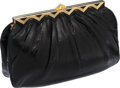 Luxury Accessories:Bags, Judith Leiber Black Lizard Clutch with Gold Triangular FrameClosure. ...