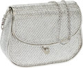 Luxury Accessories:Bags, Judith Leiber Full Bead Silver Crystal Minaudiere Evening Bag. ...