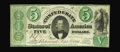 Confederate Notes:1861 Issues, T33 $5 1861. Bright paper, nice color, and uniform wear are merits of this $5. Some of the bottom cut barely dips inside the...