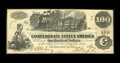 Confederate Notes:1862 Issues, T39 $100 1862. Mobile Savings Bank applied their validation stampto the back of this bright note also. A small edge tear is...