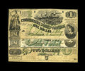 Confederate Notes:1862 Issues, T43 $2 1862 VG. T45 $1 1862 VG+, pinholes. CT45/342 Counterfeit $21862 Choice CU.. The final note in this grouping ... (Total: 3notes)
