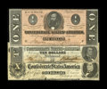 Confederate Notes:1862 Issues, Confederate Grouping including T46 $10 1862 bright Fine+; T59 $10CU; and T71 $1 Choice CU, orange tint.... (Total: 3 notes)
