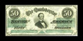 Confederate Notes:1862 Issues, T50 $50 1862. Nice color and even wear adorn this $50 that isnearly full-framed. One minor edge nick is noticed. Very Fin...