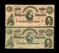 Confederate Notes:1864 Issues, T65 $100 1864 Two Examples. The dark red ink variety carries a grade of AU, while the other note grades Fine and spo... (Total: 2 notes)
