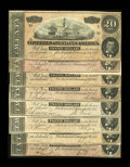 Confederate Notes:1864 Issues, T67 $20 1864 Eight Examples. This lot consists of a No Series Fine-VF; Series 1 VF-XF; Series 4 AU; 5 Series ... (Total: 8 notes)