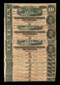 Confederate Notes:1864 Issues, T68 $10 1864. Ten Examples. A few runs of consecutive notes are seen in this lot that is so original ink bleed through is se... (Total: 10 notes)