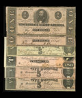 Confederate Notes:Group Lots, Confederate Notes.. T60 $5 1863 Fine. T62 $1 1863 VG (2). T69 $51864 XF (2). T70 $2 1864 AU.... (Total: 6 notes)