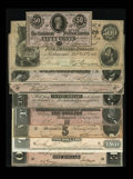 Confederate Notes:Group Lots, 1864 Type Set including T64 $500 VF; T65 $100 AU; T66 $50 AU; T67$20 CU: T68 $10 CU, pinholes, T69 $5 ... (Total: 9 notes)
