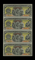 Canadian Currency: , Toronto, ON- Canadian Bank of Commerce $10-$10-$10-$10 (1888 - 1912) Ch. 75-14-18S Uncut Specimen Sheet.. An exemplary sheet...