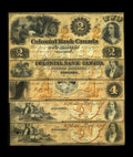 Canadian Currency: , Toronto, ON- Colonial Bank of Canada $2; $3; $4; $5 (2) 1859 VF;VF; XF, pinholes; Fine; Fine, PC Ch. 130-10-02-04; 06; 08; ...(Total: 5 notes)
