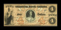 Canadian Currency: , Toronto, ON- Colonial Bank of Canada $4 May 4, 1850 Ch. #130-10-04-08. A nice example of this early $4. Extremely Fine-Ab...