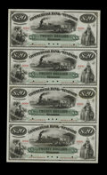 Canadian Currency: , Windsor, NS- Commercial Bank of Windsor $20-$20-$20-$20 186_ Ch. 195-10-02S Uncut Specimen Sheet.. This is a unique uncut sp...