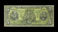 Canadian Currency: , Montreal, PQ- Molsons Bank $5 Oct. 2, 1905 Ch. 490-28-04. A repairis noticed on the back of this scarce note. Very Good....