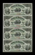 Canadian Currency: , Montreal, PQ- Bank of Montreal $5-$5-$5-$5 Jan. 2, 1891 Ch.505-40-02S Uncut Specimen Sheet.. This is one of two sheets for ...