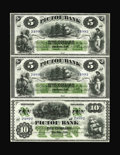 Canadian Currency: , Pictou, NS- Pictou Bank $5-$5-$10 Jan. 2, 1882 Ch.595-10-04R-04R-10R Uncut Sheet. Detailed vignettes and deep colorhighlig...