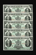 Canadian Currency: , Montreal, PQ- Royal Bank of Canada $5 Jan. 2, 1913 Ch. 630-12-04. Five Consecutive Examples.. Original paper surfaces on thi... (Total: 5 notes)