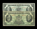 Canadian Currency: , Montreal, PQ- Royal Bank of Canada $5 Jan. 3, 1927 Ch. 630-14-04Fine. Montreal, PQ- Royal Bank of Canada $5 July 3,... (Total: 2notes)
