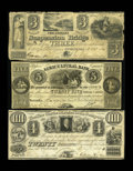 Canadian Currency: , Upper Canada Trio.. Queenstown, UC- Niagara Suspension Bridge Bank$3 Oct. 13, 1840 Ch. 535-10-06-04 VG. Peterboro... (Total: 3 notes)