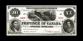 Canadian Currency: , PC-6FP $20 1866 Face Proof. This proof has dark black ink resting on white paper. A little bit of handling is noticed along ...